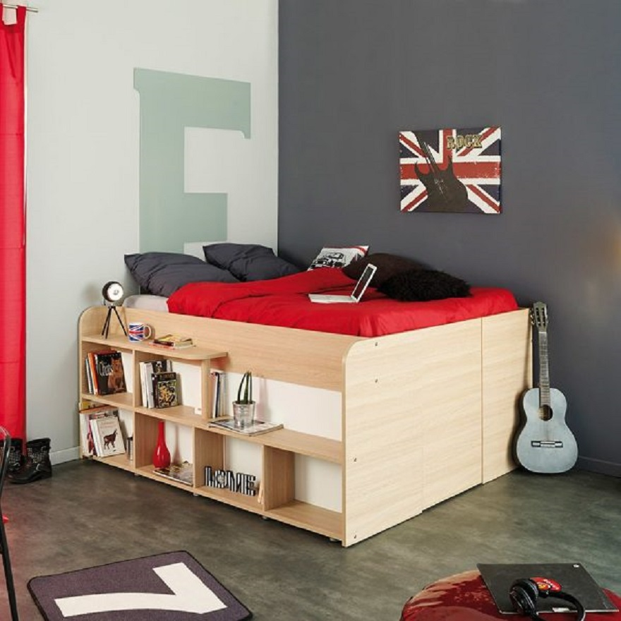 Wooden-platform-kids-beds-with-storage