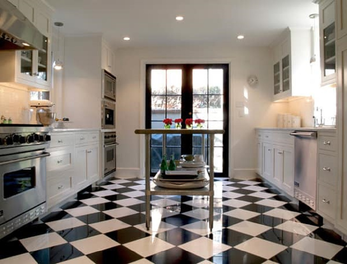 Black and white kitchen Chess Floor Ideas To Present A Game Vibe In Any Room Of Your House