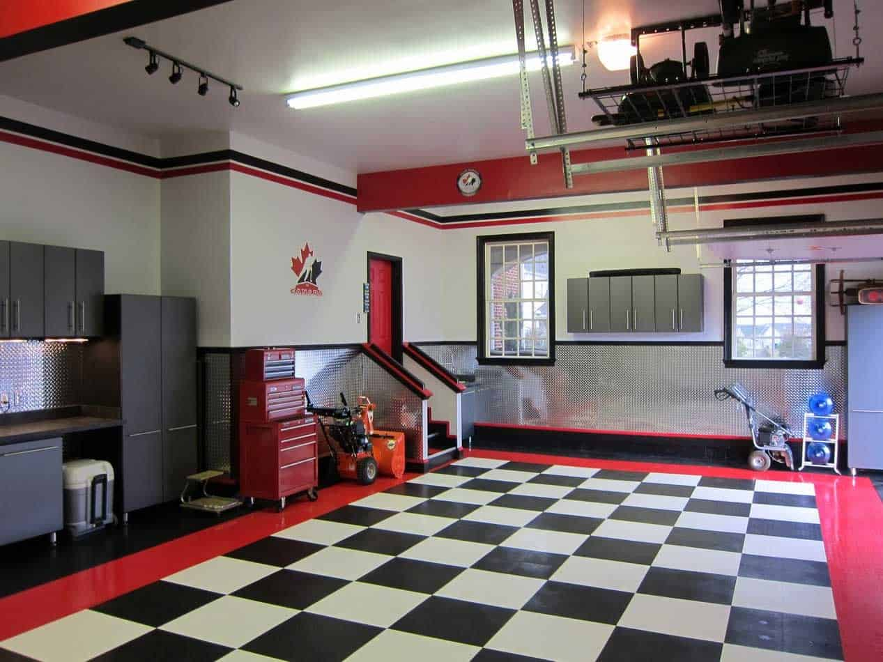Checkerboard floor in garage Chess Floor Ideas To Present A Game Vibe In Any Room Of Your House
