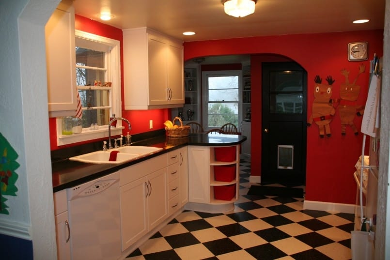 Chess floor with red all over Chess Floor Ideas To Present A Game Vibe In Any Room Of Your House