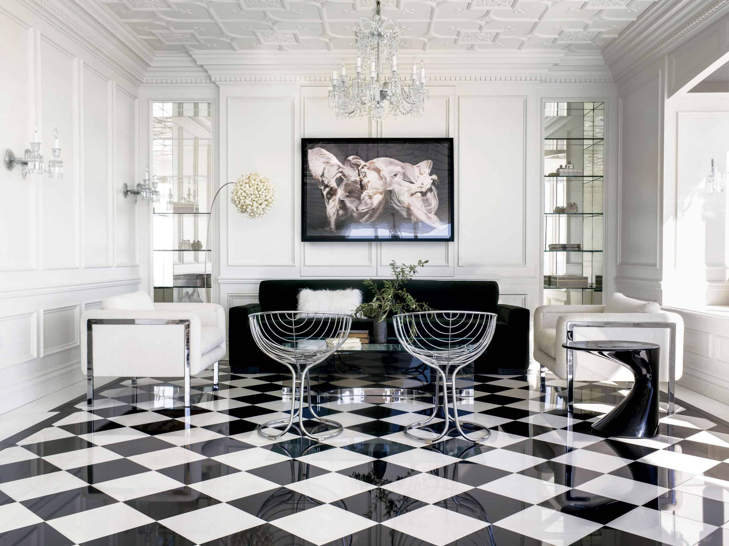 Glossy chess floor living room Chess Floor Ideas To Present A Game Vibe In Any Room Of Your House
