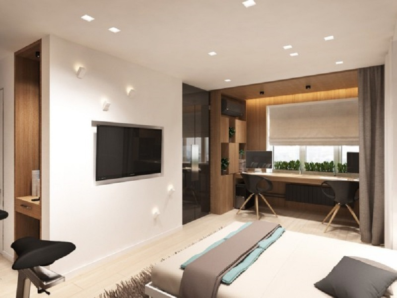 Studio apartment design for a young couple with a variety of activities within a single room 3