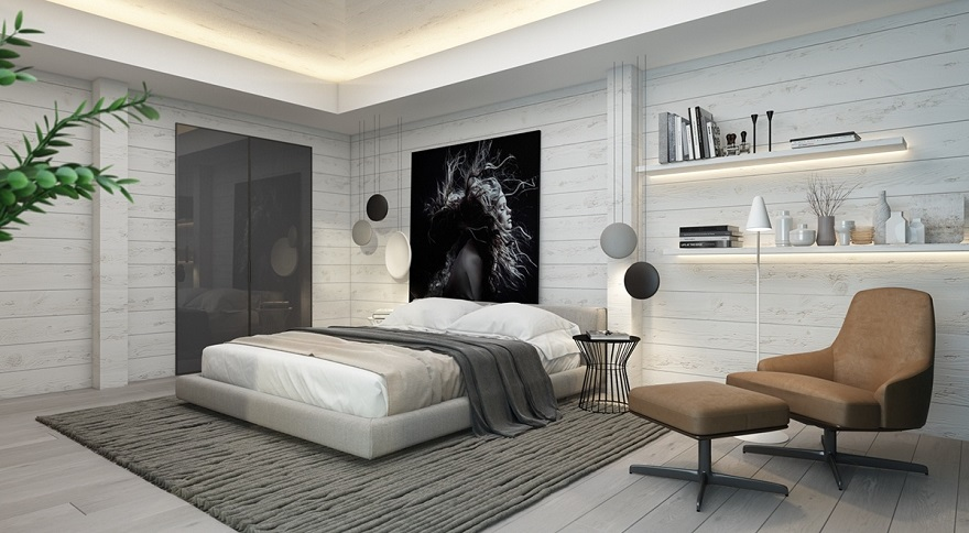 Artistic monochromatic bedroom with subtle white-painted panels as a backdrop 1