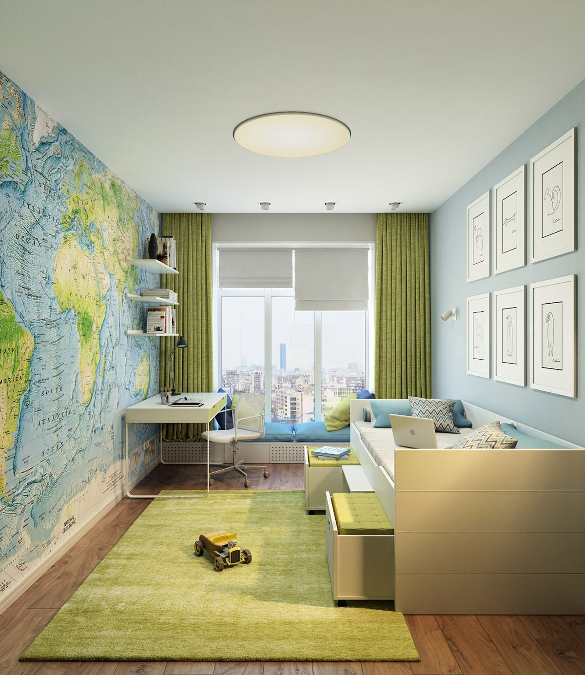 Full map wall Funniest Kid Room Wall Decor Ideas To Create Big Creative Fresh Canvases