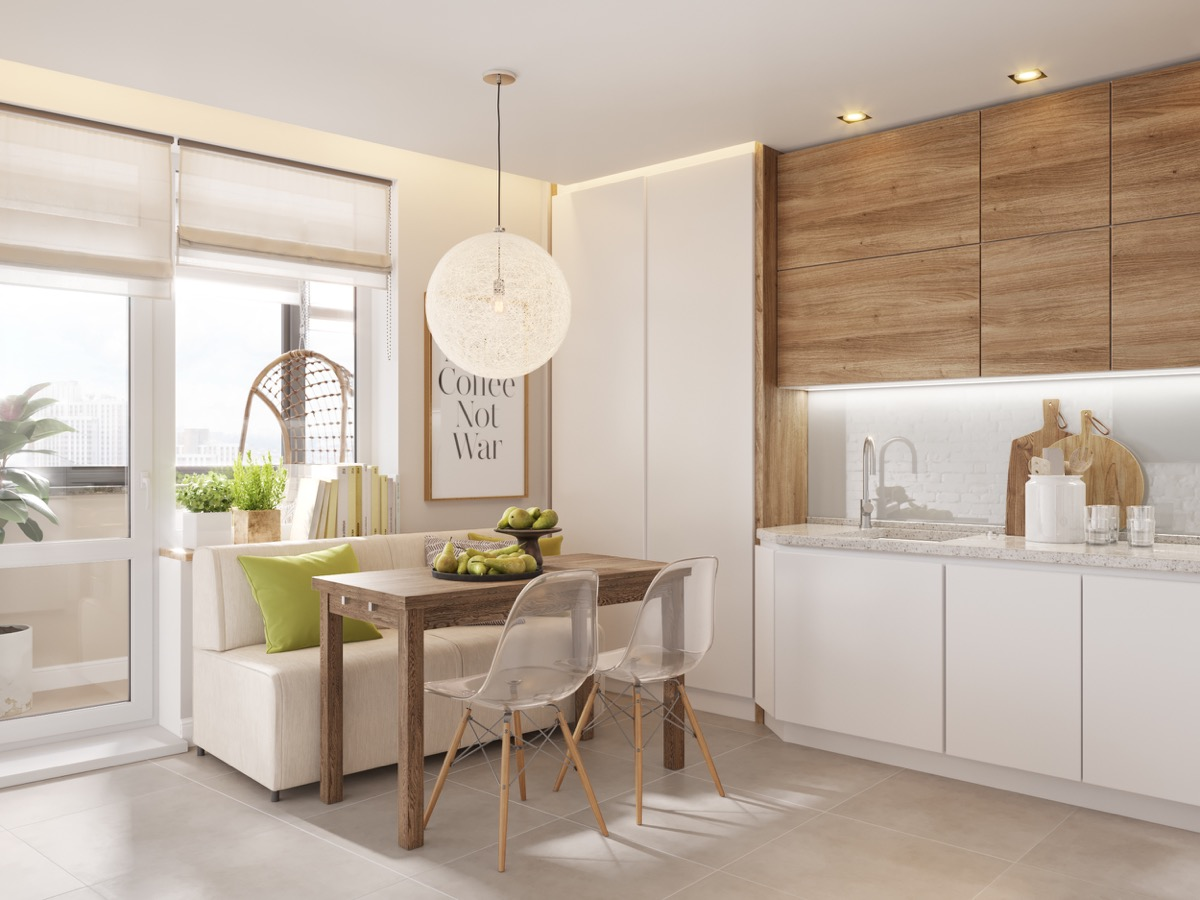 Classic white and wood Most-Wanted Breakfast Nook Ideas That Add Charm To Your Kitchen