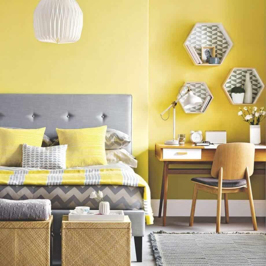 Tüm Gün Büyüleyici Parlak ve Yatak Odası İçin Sarı Rengi Kullanmanın Daha Yumuşak Sarı Çekici Yolları
