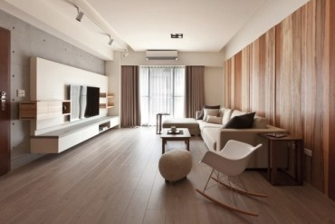 Modern-living-room-with-wooden-flooring-and-walls-600x401