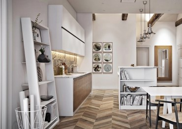 Scandinavian-kitchen-oscillating-wooden-panelling-leaning-elements