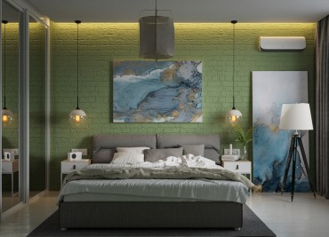 Green-and-blue-bedroom