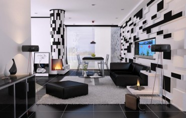 Black-and-white-living-room-interior-designs-geometric-black-and-white-wall-patterns-glass-coffe-table-black-ottoman-glass-cabinet-modern-fireplace-large-window
