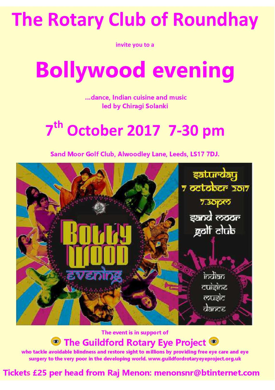 Bollywood Evening Saturday 3 October 2017