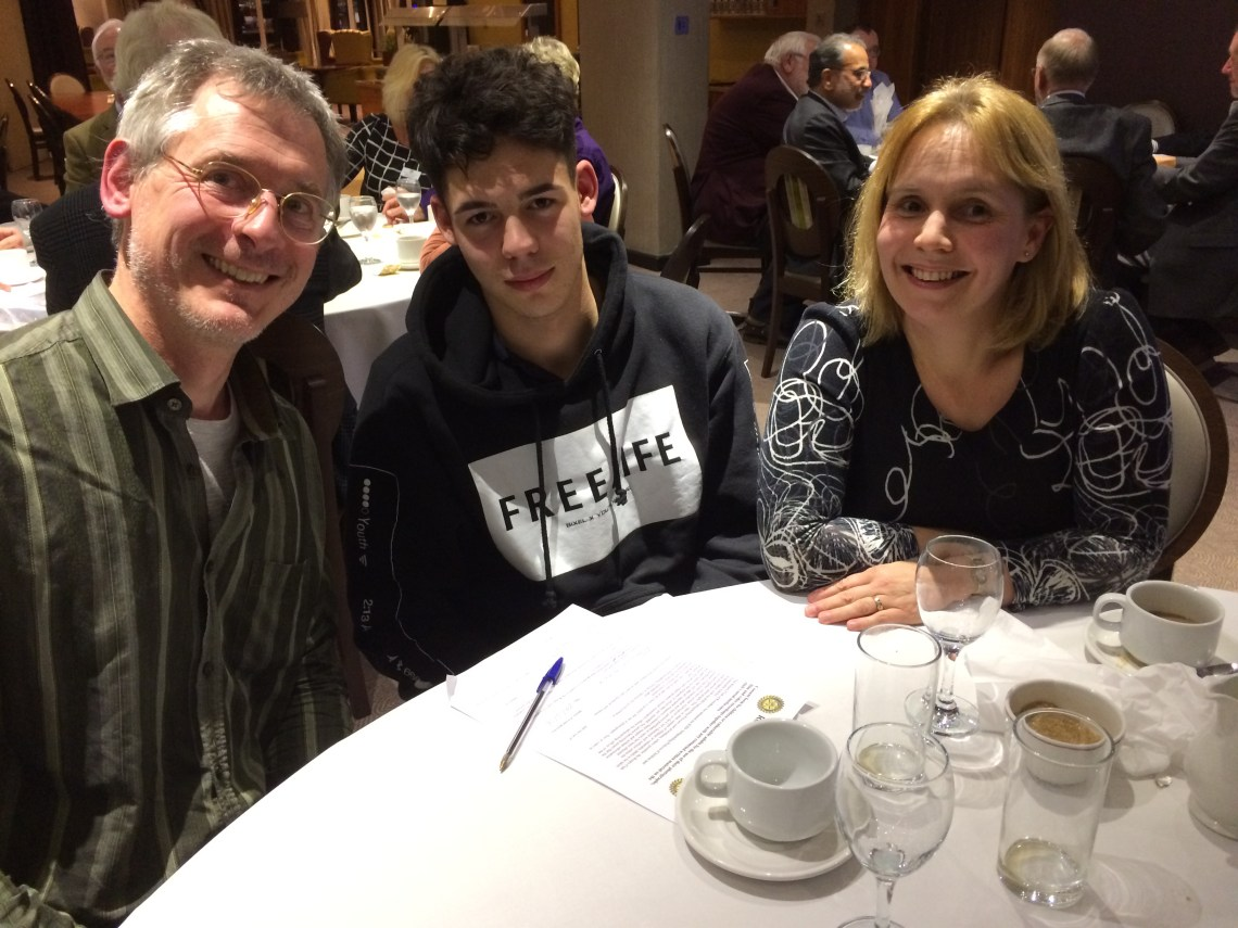 Issac Primrose visited the Rotary Club of Roundhay with his parents to talk about his RYLA experience