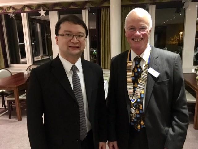 RI Global Grant Scholarship student, Dr Yuan-Ming Tsai with president Scott Wostenholme