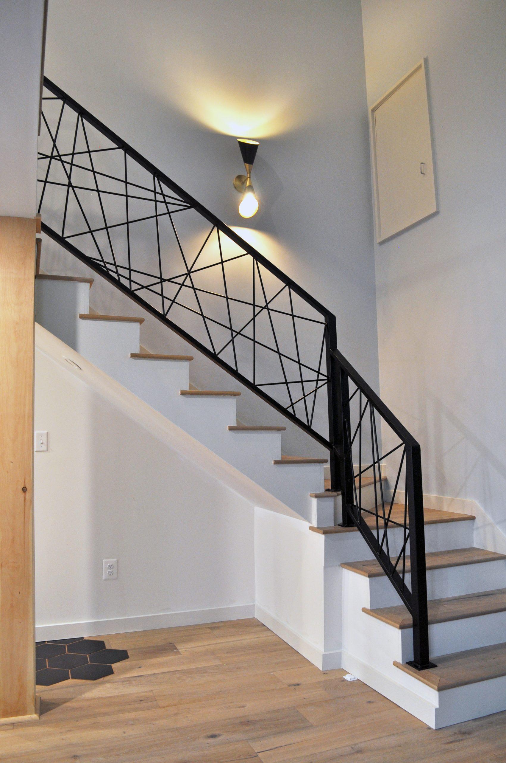 Modern art straight lines steel railing black
