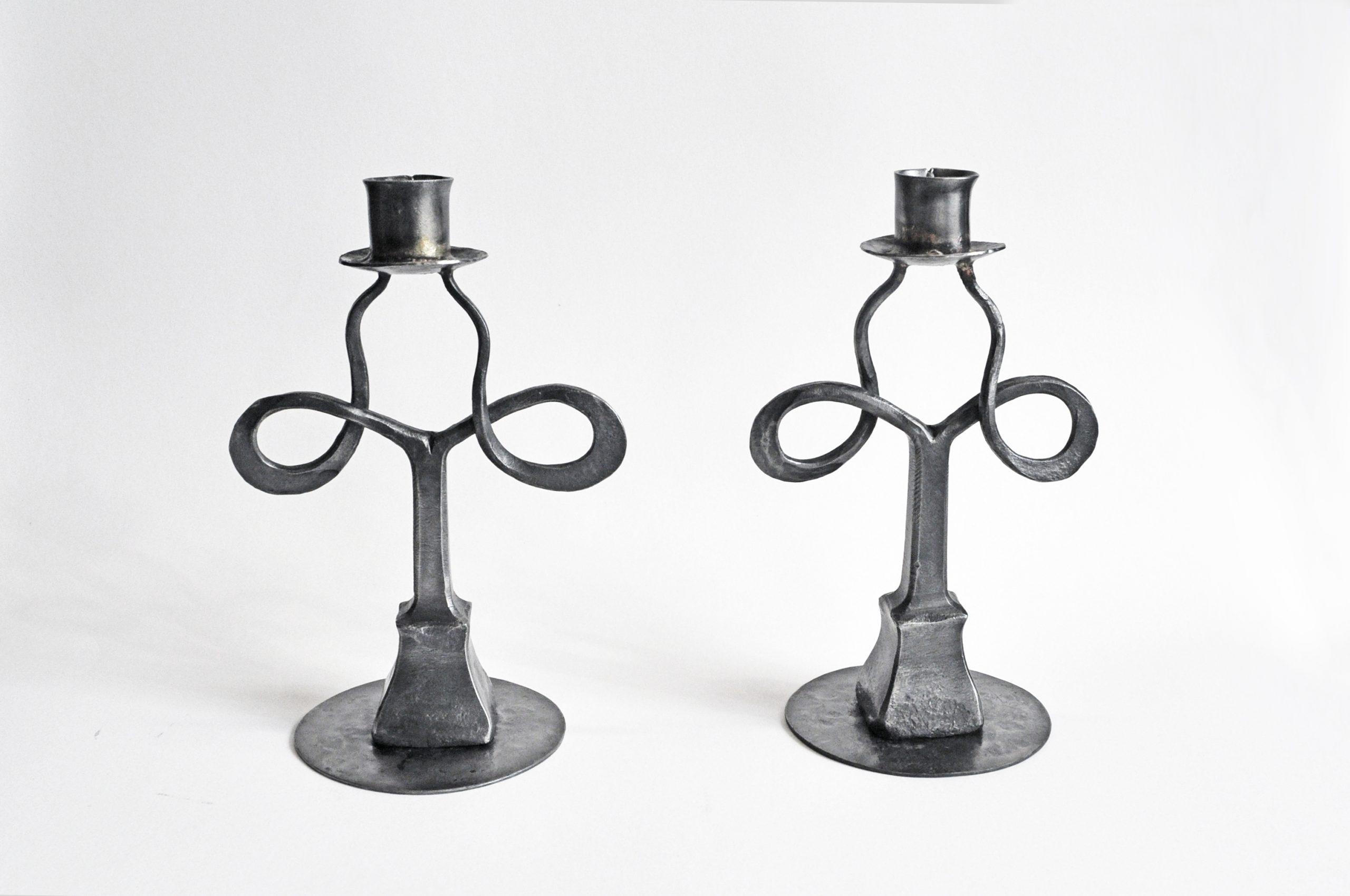 forged iron candle holder set
