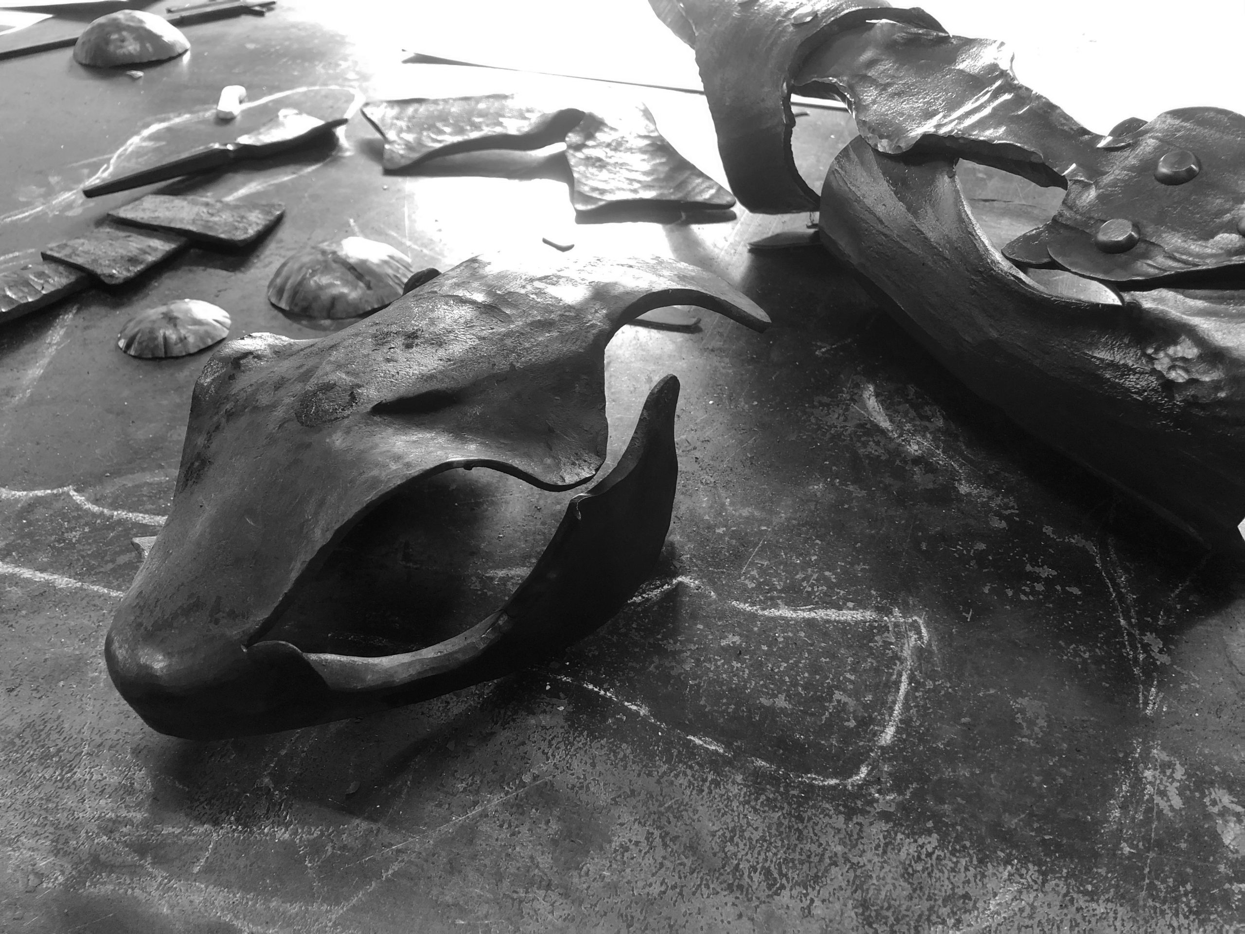 Forged iron lizard sculpture