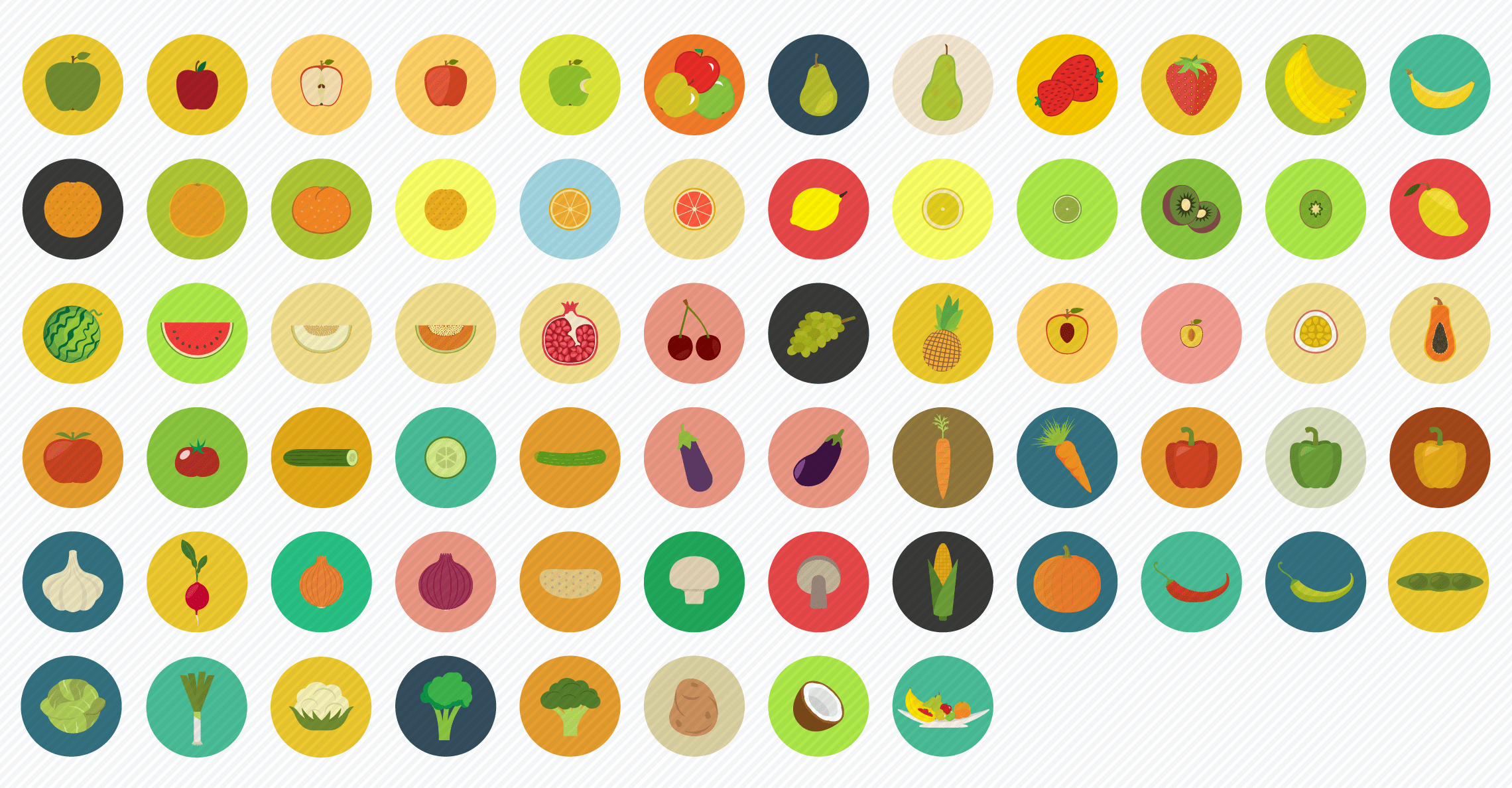 Food_Fruit_Vegetables flat icons