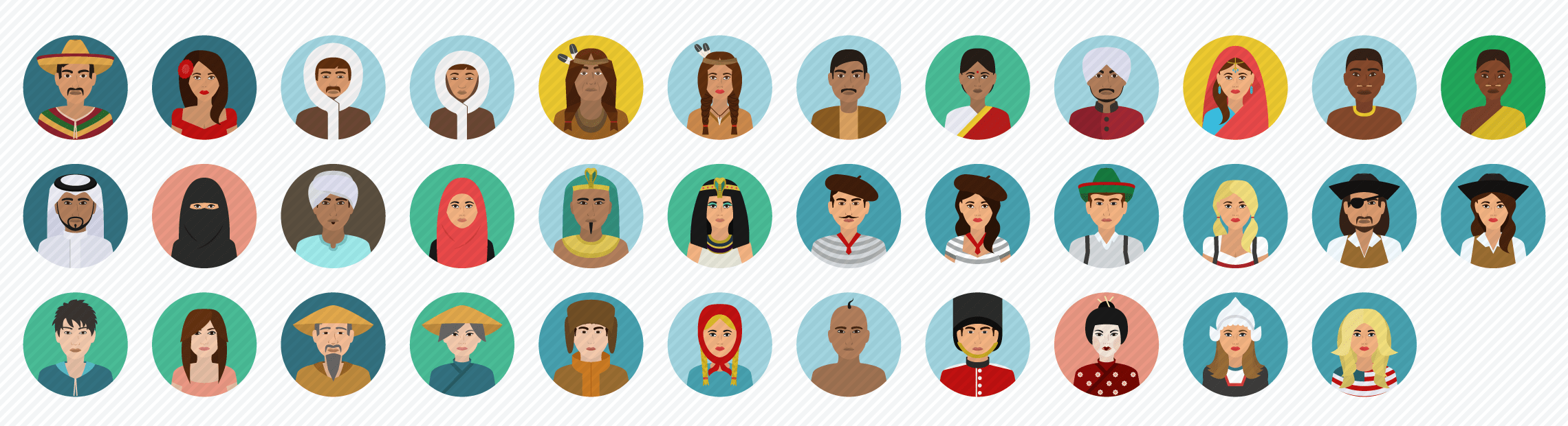 People_Multicultural flat icons