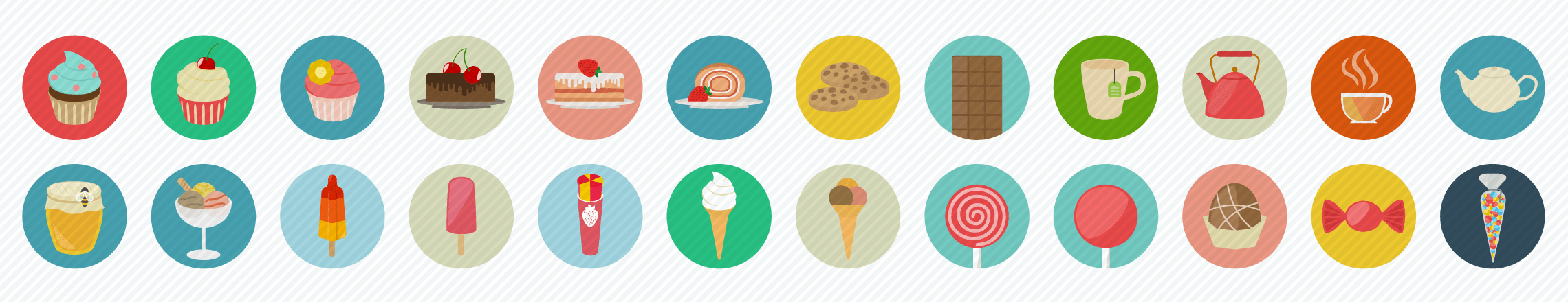 sweets drinks flat icons