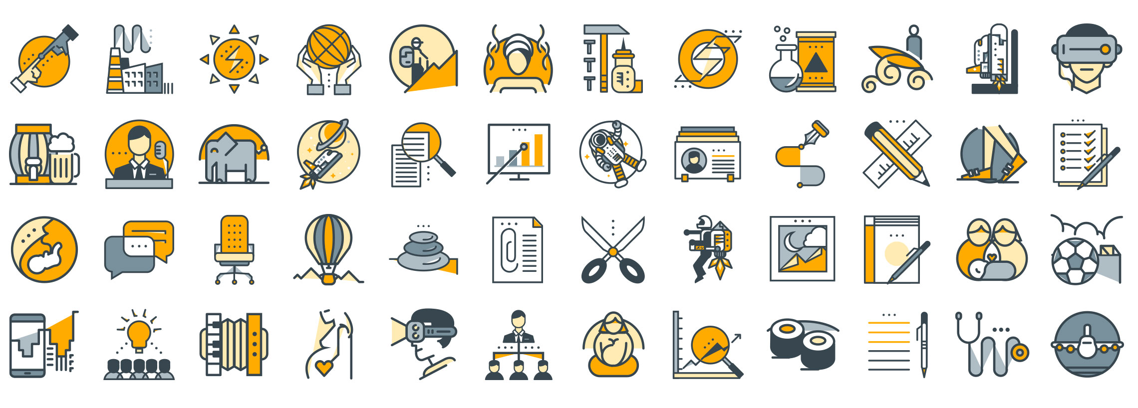 filled line icons set preview
