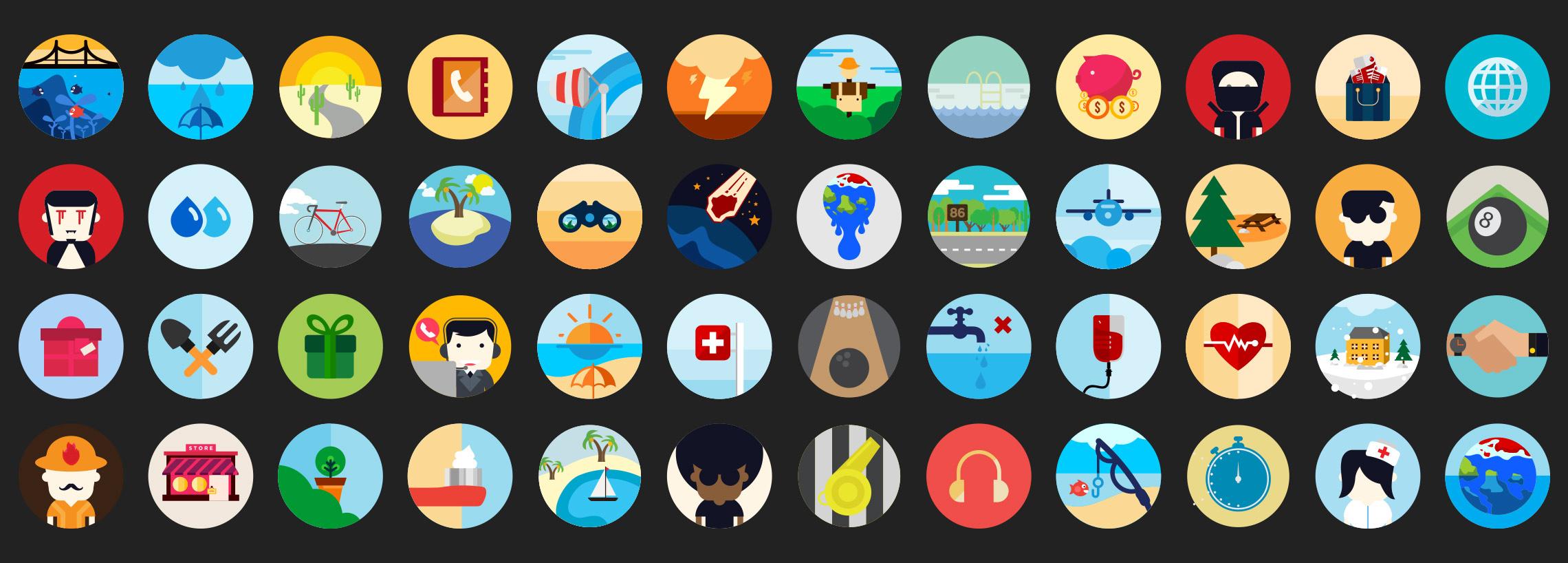 flat scene icons vector