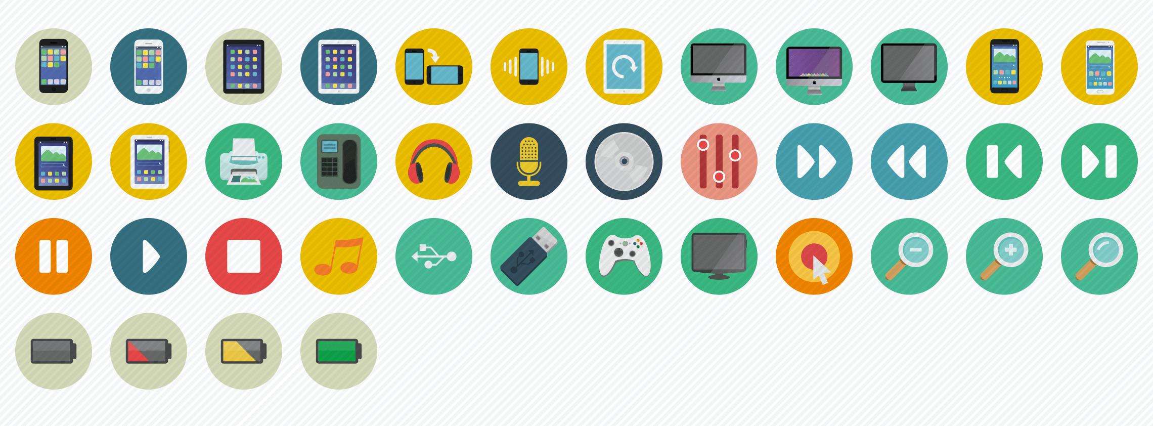 multimedia-flat-icons-set