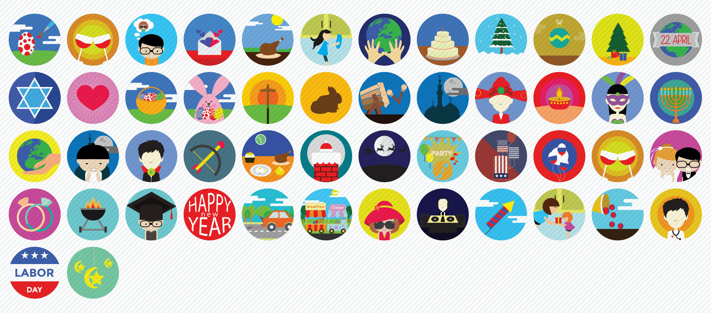 Holidays and Occasions Flat Icons