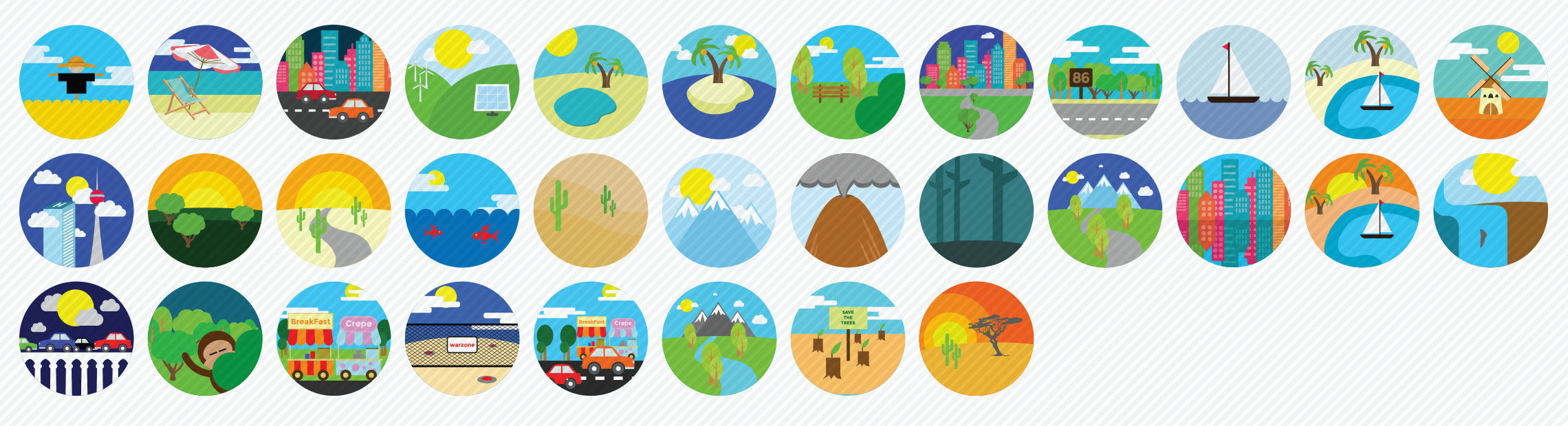 Places and Locations Flat Icons