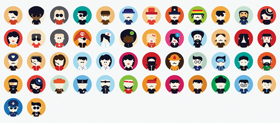 user avatar and jobs flat icons set