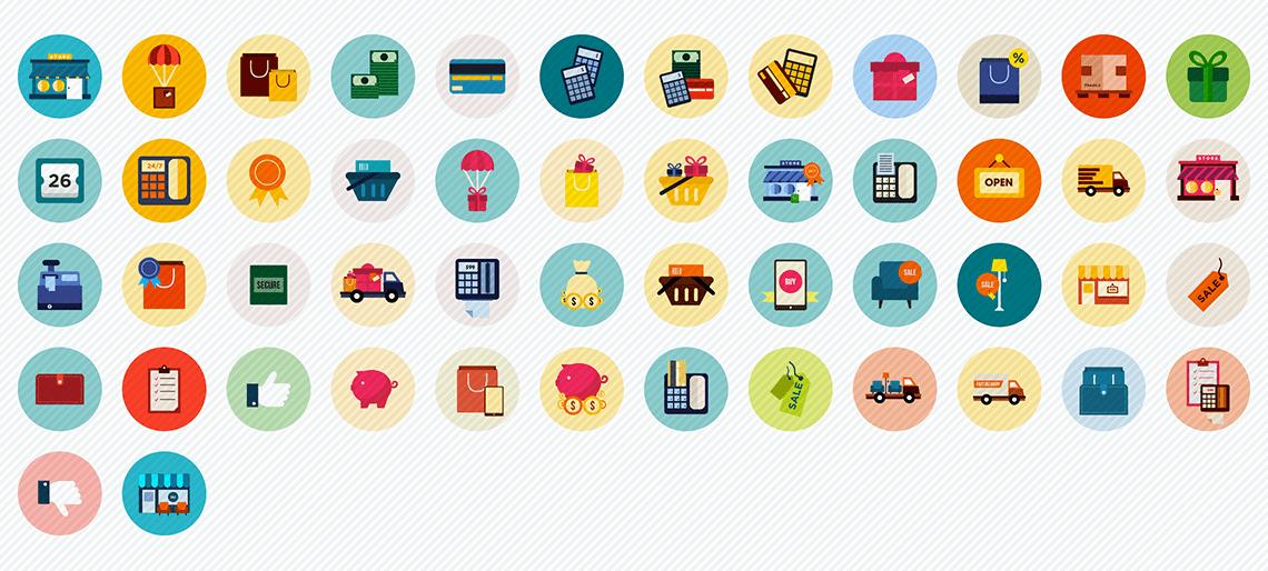 e-commerce flat icons set
