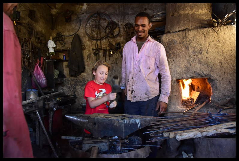 Learning some blacksmithing at the market