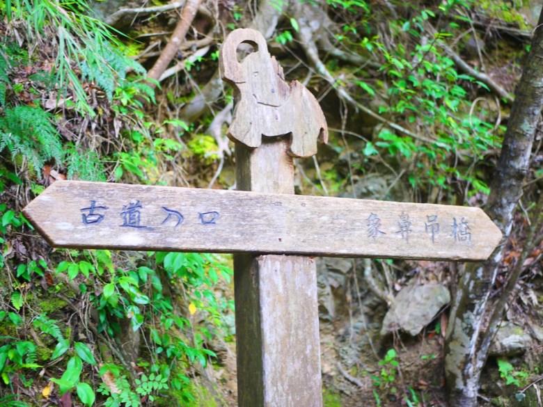 歷史感的指示牌 | 象鼻印象 | 古道入口 | 象鼻吊橋 | 山川美景 | 群山環繞 | 綠水如茵 | タイアン | たいあん | ミアオリー | Wafu Taiwan | 巡日旅行攝 | RoundtripJp