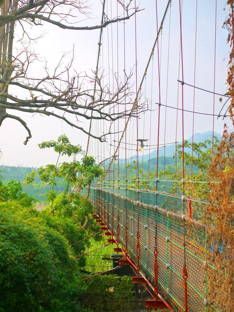 綠意盎然 | 美麗的橋體 | 火紅吊橋 | 青山綠水之上 | 遠眺九九峰美景 | Caotun | Nantou | Wafu Taiwan | 巡日旅行攝 | RoundtripJp