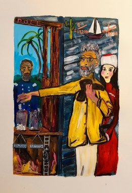 """The Famous Bledsoe Painters Are First To Cast Their Vote During Arizona Reconstruction"" 2016. Acrylic on paper, 15 x 23"""