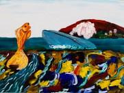 """Thai Fish and Blue Whale Haggle Future Territory"" 2016. Acrylic on canvas, 16 x 12"""