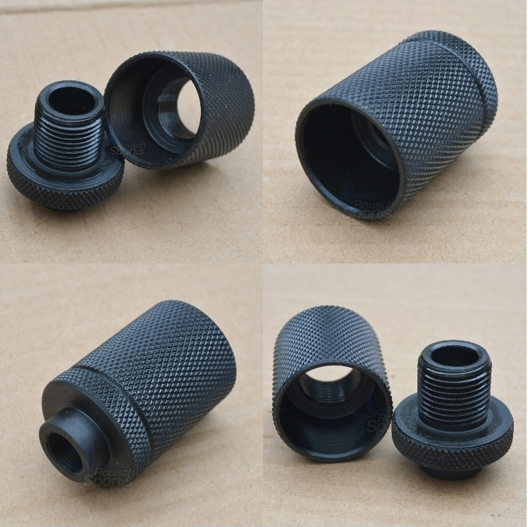 Solvent Trap Adapter with Percussion Shroud Thread Protector Pistol Rifle AR15 M16 M4 Ruger Walther Sig Sauer Austin Texas Best wholesale Discount Prices Austin Texas Rousch Sports 1/2-28 X 3/14-16 , ½-28 X13/16-16, 9/16-24 X13/16-16, .578/28 X13/16-16, 5/8-24X 13/16-16