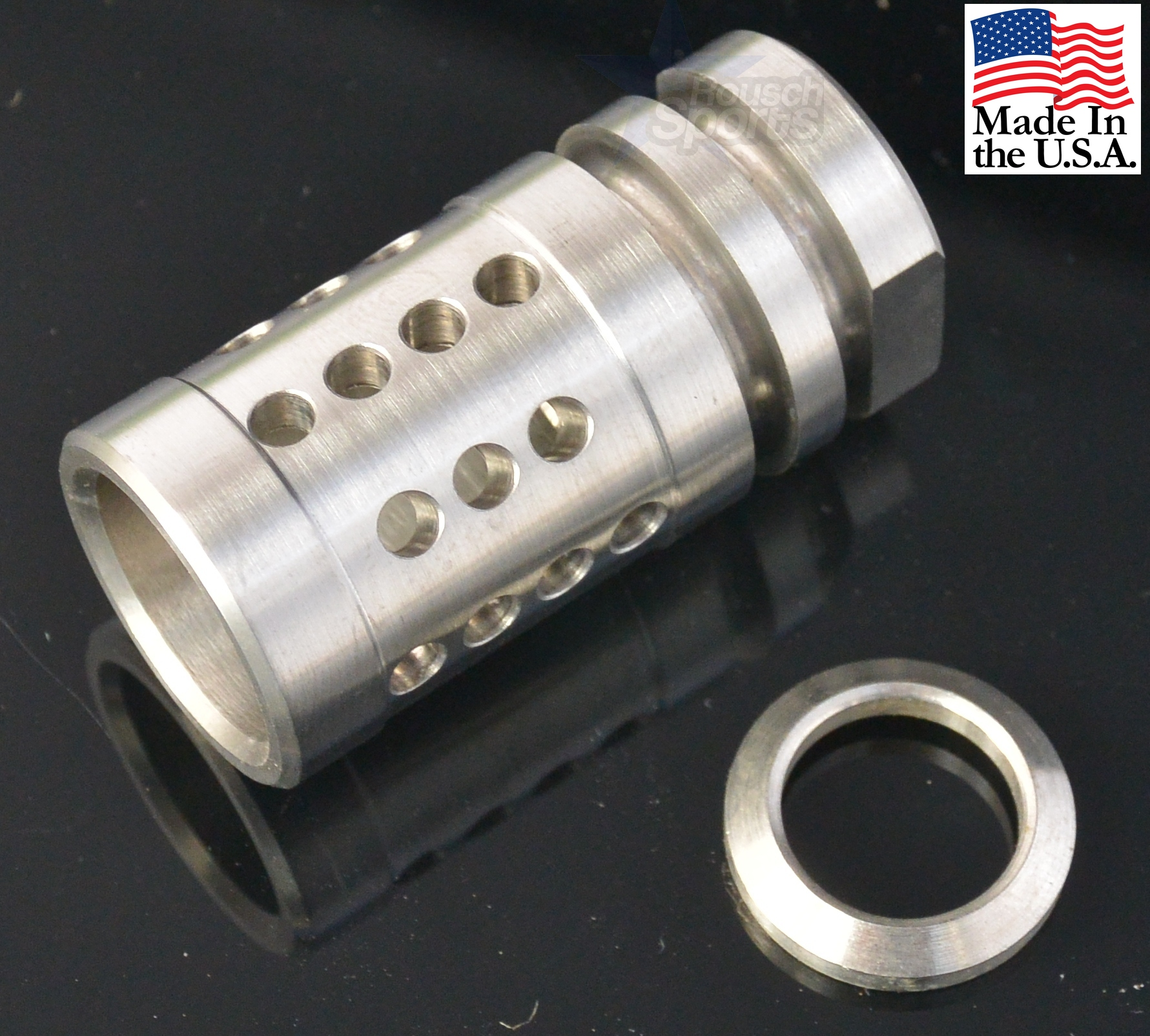 "Stainless Steel A2 Flash Hider Fox Hole Half Cage 1/2""-28 9/16""-24 5/8""-24 Best Wholesale Discount Prices AR15 M16 M4 Austin Texas USA"