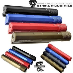 Strike Industries Pit Stock Skeletonized Stock Buffer Tube Black Blue FDE Red Anodize AR 15 10 M16 M4 Rousch Sports USA Austin Texas