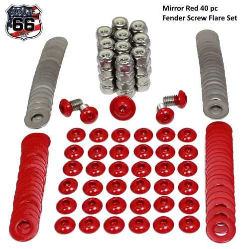 Powder coated fender flare screw set Mirror Red