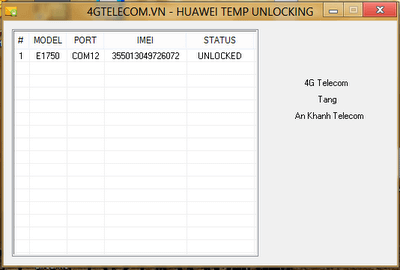 Huawei Temporary unlocking tool