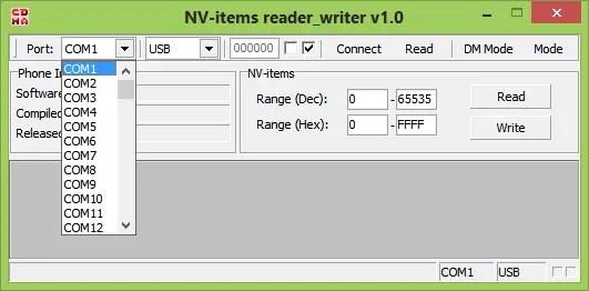 NV Item reader writer software - main menu