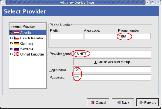 Select Provider - Linux Dial Up Connection