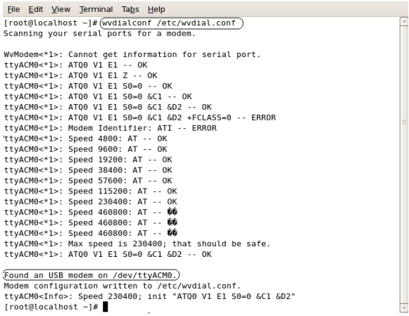 Issue command on linux OS for modem installations