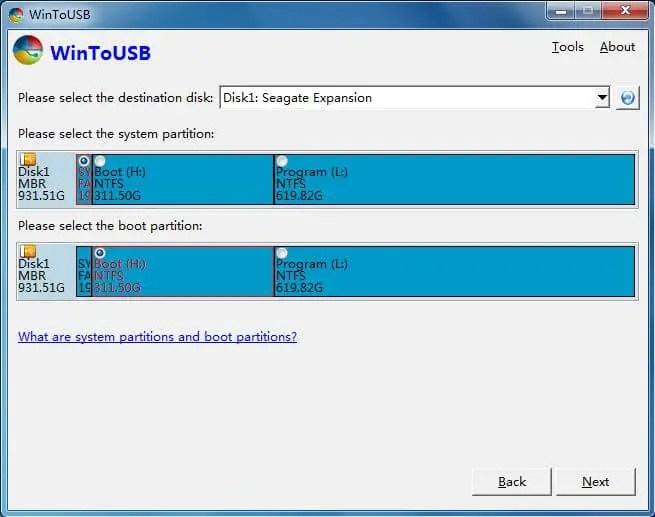 WinToUSB - Select Destination Disk