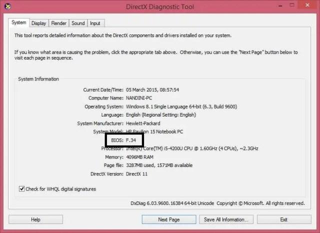 DXDiag (DirectX Diagnostic Tool)