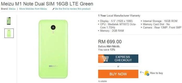 Meizu M1 Note in Malaysia