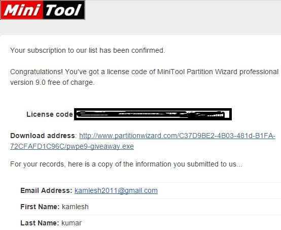 MiniTool Partition Wizard Pro Edition License