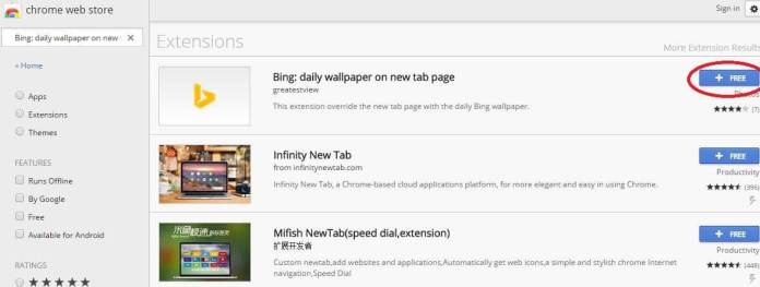 Search for Bing daily wallpaper on new tab page