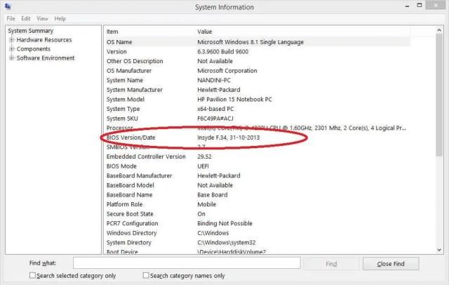 System Information - BIOS Version Check