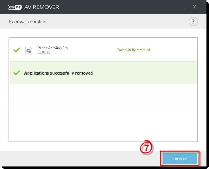 ESET AV Remover - Application Removed